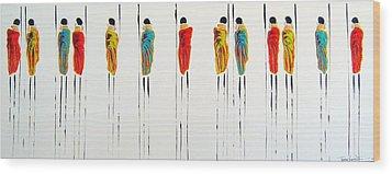 Vibrant Masai Warriors - Original Artwork Wood Print