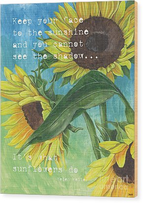 Vince's Sunflowers 1 Wood Print by Debbie DeWitt