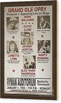 Vintage 1953 Grand Ole Opry Poster Wood Print
