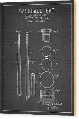 Vintage Baseball Bat Patent From 1926 Wood Print