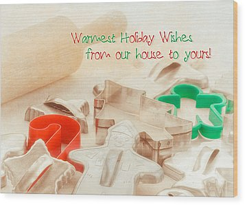 Vintage Christmas Cookie Cutters  Wood Print