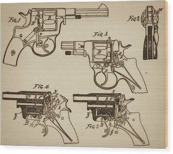 Vintage Colt Revolver Drawing  Wood Print by Nenad Cerovic