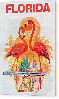 Vintage Florida Travel Poster Wood Print by Jon Neidert