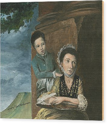 Wood Print featuring the painting Vintage Mother And Son by Mary Ellen Anderson