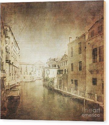 Vintage Photo Of Venetian Canal Wood Print by Evgeny Kuklev