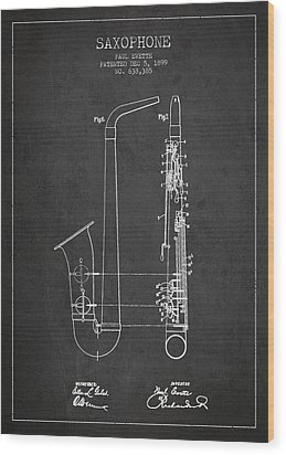 Saxophone Patent Drawing From 1899 - Dark Wood Print by Aged Pixel