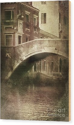 Vintage Shot Of Venetian Canal, Venice Wood Print by Evgeny Kuklev