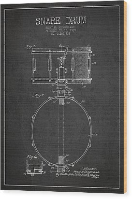 Snare Drum Patent Drawing From 1939 - Dark Wood Print by Aged Pixel