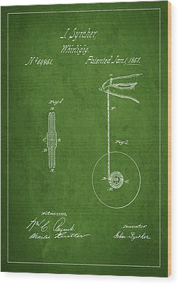 Vintage Yoyo Patent Drawing From 1867 Wood Print by Aged Pixel