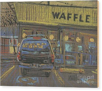 Wood Print featuring the painting Waffle House by Donald Maier