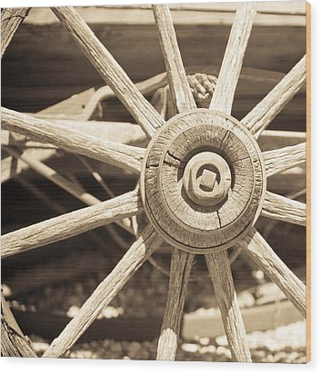 Wagon Wheel Wood Print by Gilbert Artiaga
