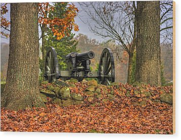 Wood Print featuring the photograph War Thunder - The Charlotte North Carolina Artillery Grahams Battery West Confederate Ave Gettysburg by Michael Mazaika