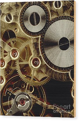 Watch Mechanism. Close-up Wood Print by Bernard Jaubert