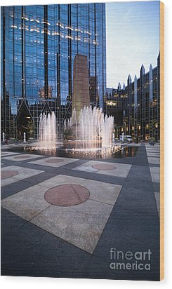 Water Fountain At Ppg Place Plaza Pittsburgh Wood Print by Amy Cicconi