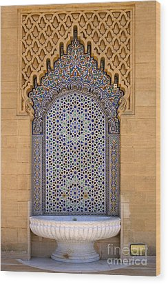 Wood Print featuring the photograph Water Fountain Mausoleum Of Mohammed V Opposite Hassan Tower Rabat Morocco  by Ralph A  Ledergerber-Photography