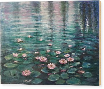 Wood Print featuring the painting Water Lilies by Laila Awad Jamaleldin