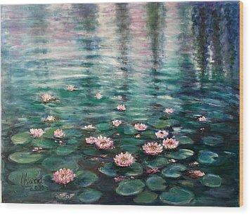 Water Lilies Wood Print by Laila Awad Jamaleldin