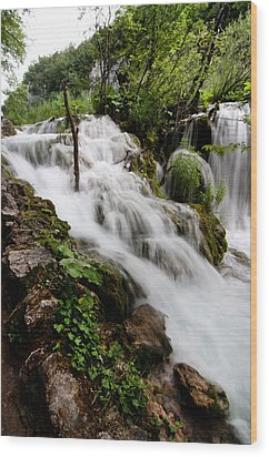 Wood Print featuring the photograph Waterfall In Plitvice by Laura Melis