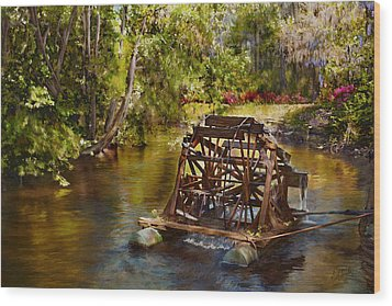 Waterwheel Wood Print by Noel Steele