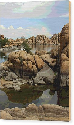 Watson Lake Reflections Wood Print by Greg Thiemeyer