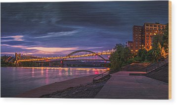 Wood Print featuring the photograph Wheeling Suspension Bridge  by Mary Almond
