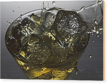 Wood Print featuring the digital art Whiskey Splash by John Hoey