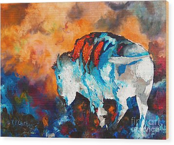 Wood Print featuring the painting White Buffalo Ghost by Karen Kennedy Chatham