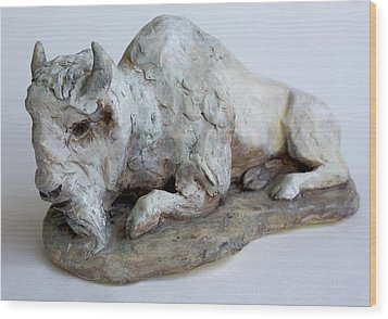 White Buffalo-sculpture Wood Print by Derrick Higgins