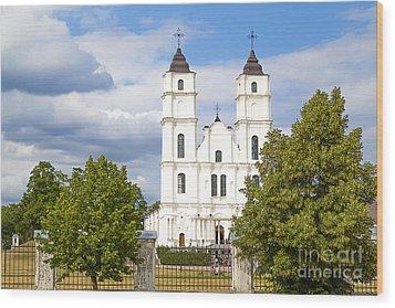 White Church Wood Print by Regina Koch
