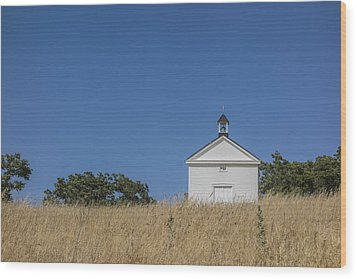 White Country Church Wood Print by David Litschel