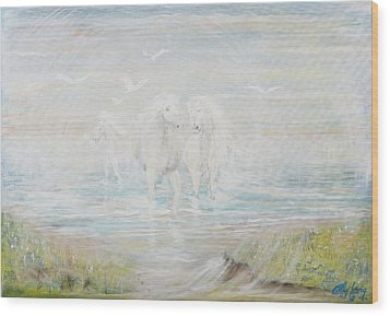 Wood Print featuring the painting White Horses by Cathy Long