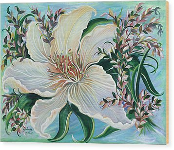 Wood Print featuring the painting White Lily by Yolanda Rodriguez