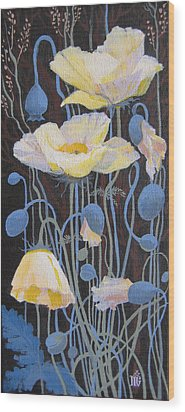 White Poppies Wood Print