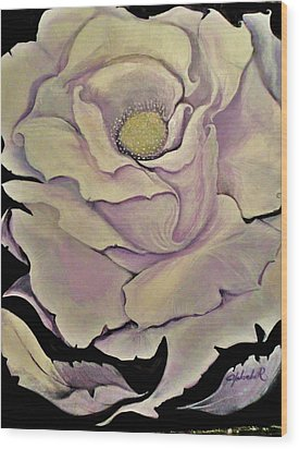 Wood Print featuring the painting White Rose by Yolanda Rodriguez
