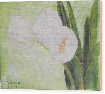 White Tulips On Stems With Foliage Wood Print