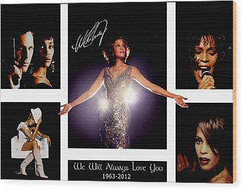 Whitney Houston Tribute Wood Print by Amanda Struz
