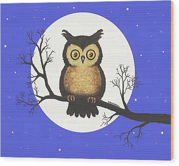 Wood Print featuring the painting Whooo You Lookin' At by Sophia Schmierer
