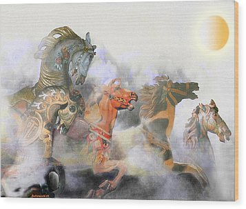 Wild Horses Wood Print by Larry Butterworth