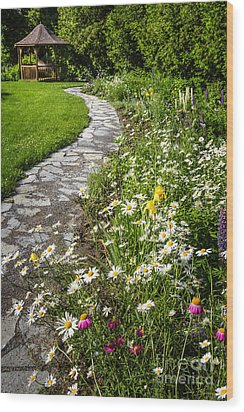 Wildflower Garden And Path To Gazebo Wood Print by Elena Elisseeva