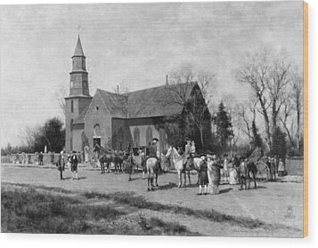 Wood Print featuring the painting Williamsburg Church by Granger