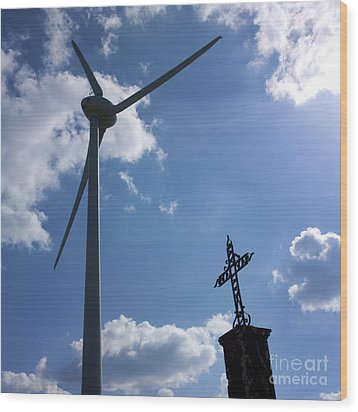 Wind Turbine And Cross Wood Print by Bernard Jaubert