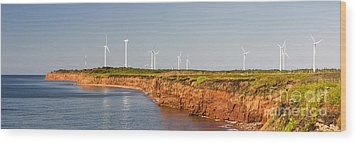 Wind Turbines On Atlantic Coast Wood Print by Elena Elisseeva