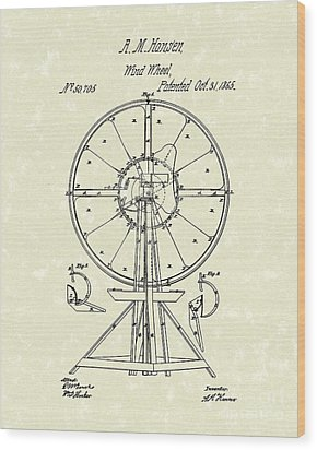 Wind Wheel 1865 Patent Art Wood Print by Prior Art Design