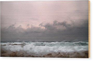 Window Sea Storm  Wood Print by Stelios Kleanthous