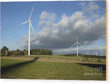 Windturbines Wood Print by Bernard Jaubert