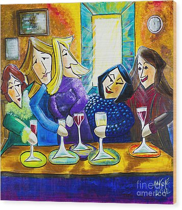 Wine Buddies The Last Call Wood Print by Angela Nuttle