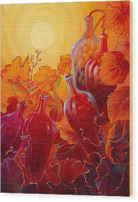 Wood Print featuring the painting Wine On The Vine II by Sandi Whetzel