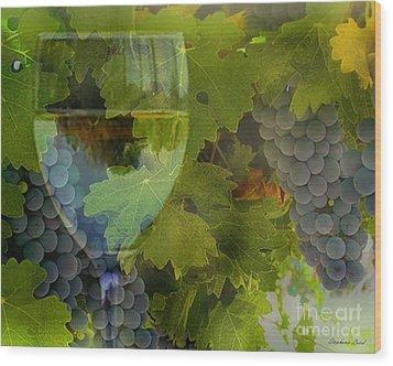 Wine Wood Print by Stephanie Laird