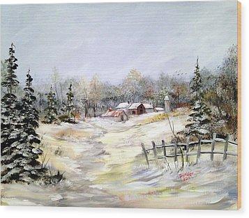 Winter At The Farm Wood Print