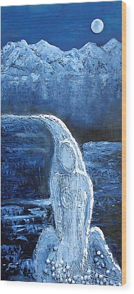 Wood Print featuring the mixed media Winter Goddess by Angela Stout